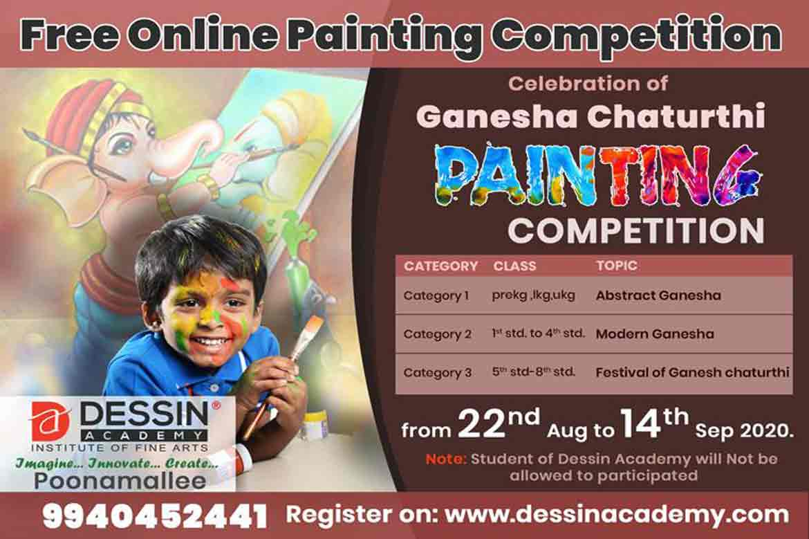 Ganesha Chaturthi -Free Online Drawing and Painting Competition August 2020: By Dessin academy