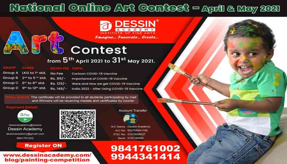 National Online Art Contest | Drawing and Painting Competition in India | School Children | April | May | 2021 | By Dessin Academy